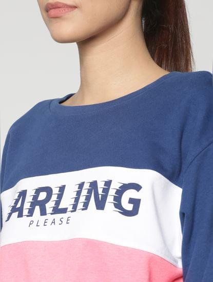 Blue Colour Blocked Cropped Sweatshirt
