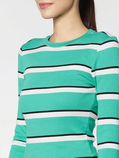 Green Colour Blocked T-Shirt