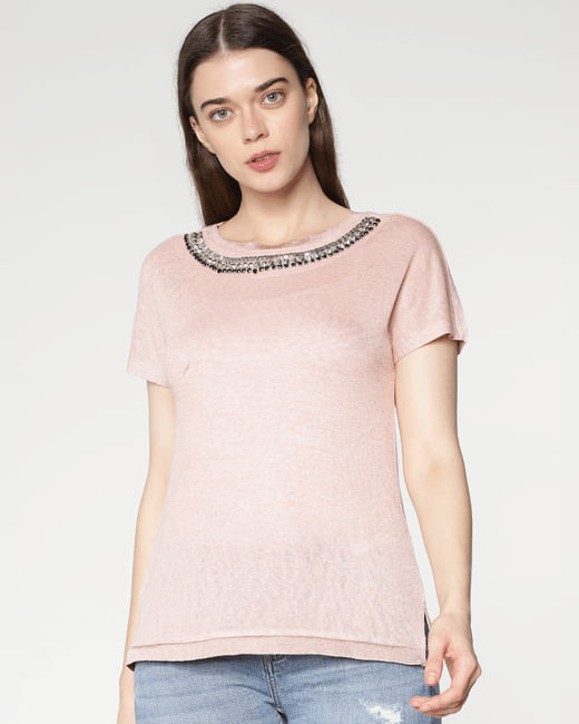 Pink Embellished Neckline T-Shirt