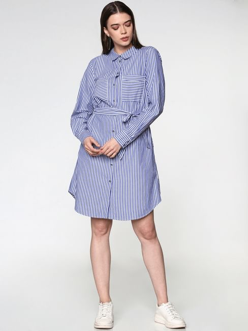 Blue Striped Tie Up Waist Patch Pocket Shirt Dress
