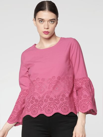 Pink Schiffli Cut Work Cropped Top