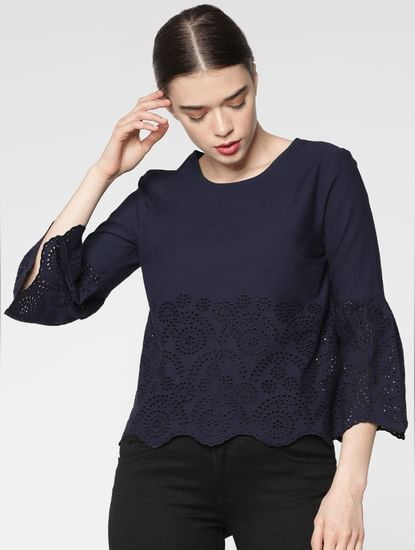 Navy Blue Schiffli Cut Work Cropped Top