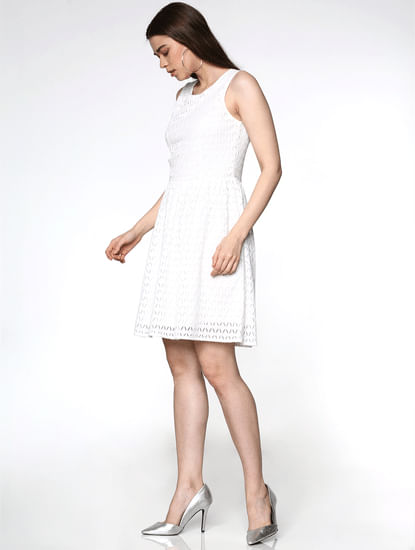 White Lace Fit & Flare Dress