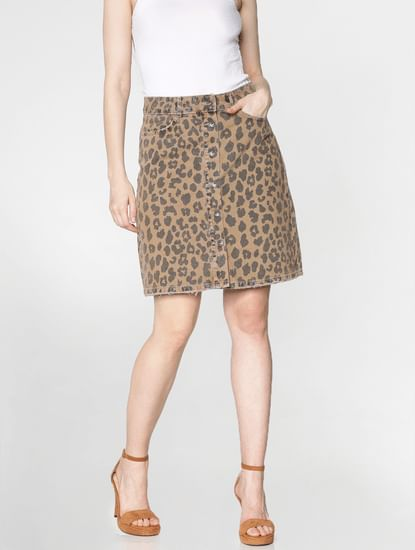 Tan Low Rise Leopard Print Denim Skirt