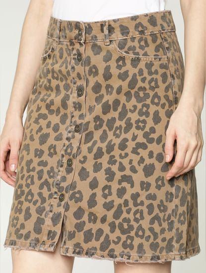 Tan Low Rise Leopard Print Denim Skirt