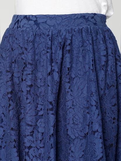 Blue Low Waist Lace Flared Midi Skirt