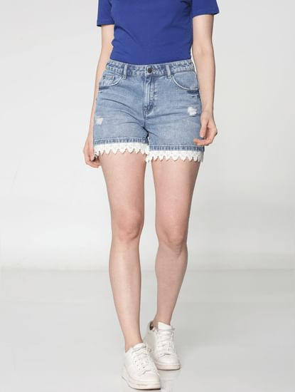 Blue Low Rise Lace Hem Detail Distressed Denim Shorts
