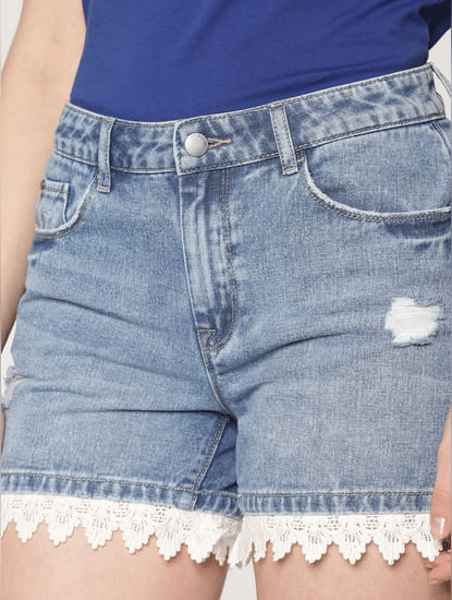 Blue Low Rise Lace Hem Detail Distressed Denim Shorts