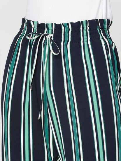 Navy Blue Striped Low Waist Drawstring Pants