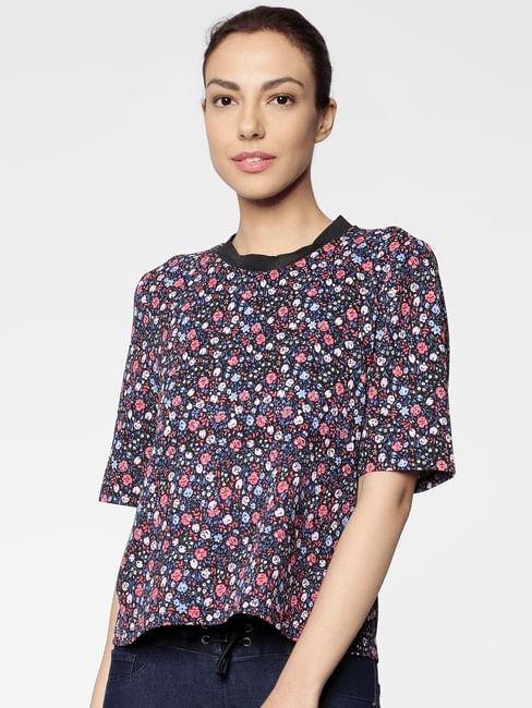 Black All Over Floral Print Cropped Top