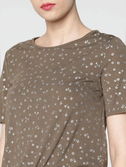 Brown Graphic Print Front Tie Up T-Shirt