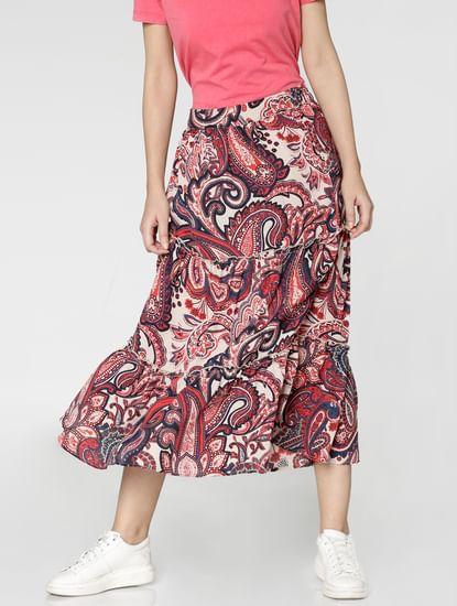 White Mid Rise All Over Paisley Print Flared Midi Skirt
