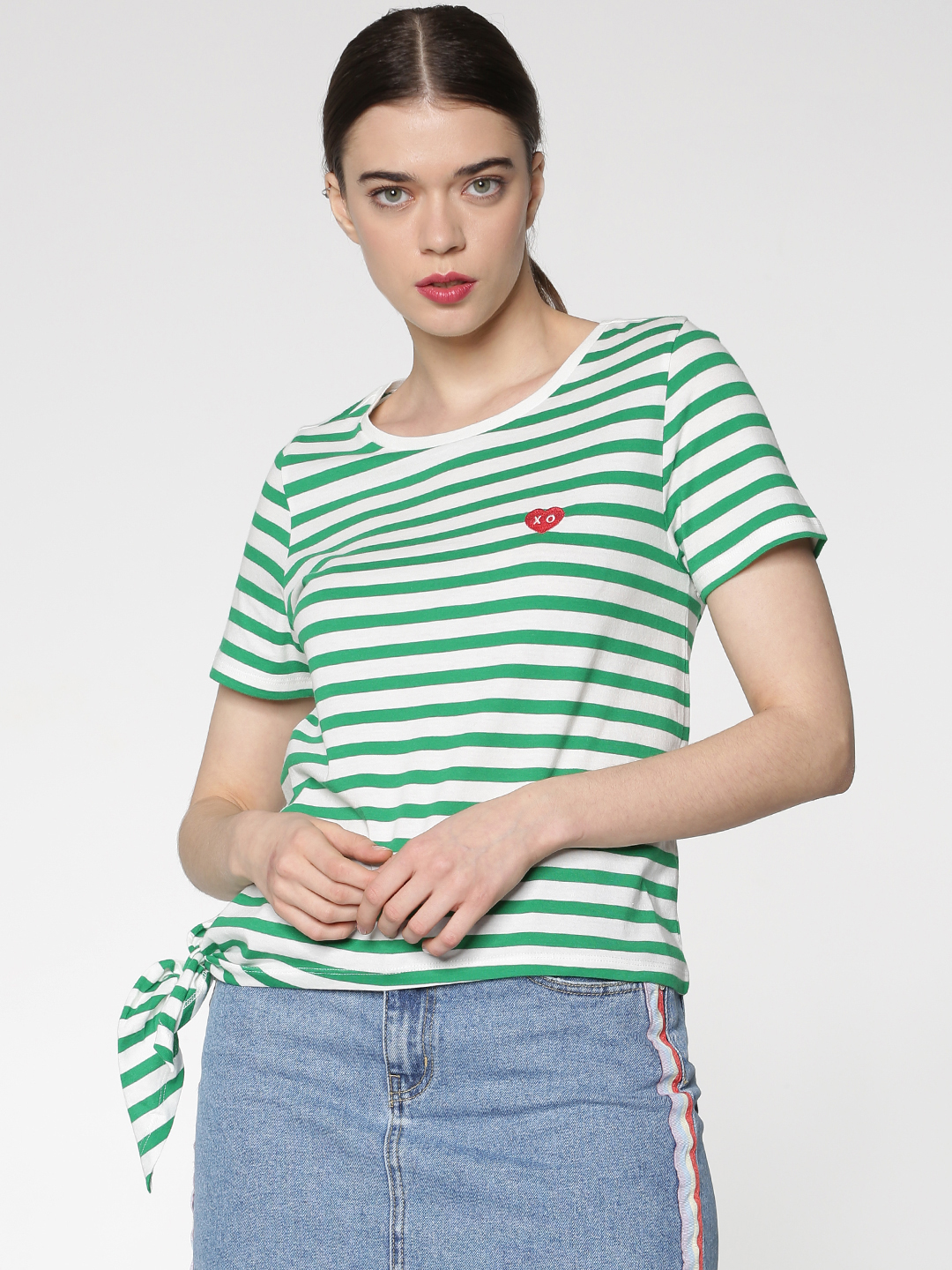Green Striped Side Knot T-Shirt