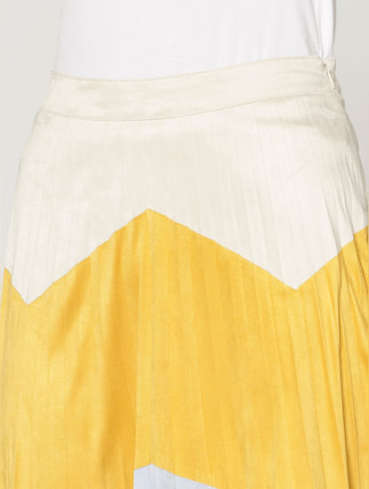 Yellow Mid Rise Colourblocked Midi Skirt