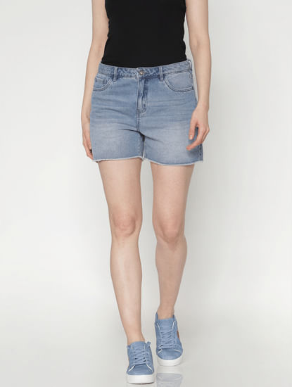 Blue Low Rise Raw Edge Denim Shorts