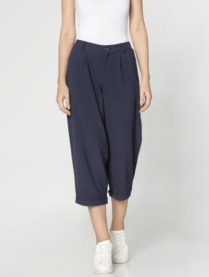 Blue Low Waist Loose Fit Pants
