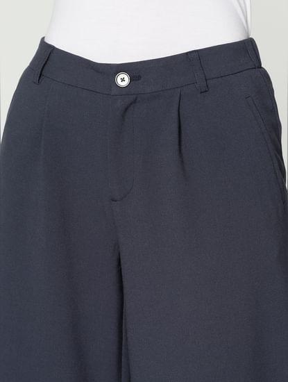Blue Low Waist Loose Fit Pants