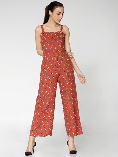 Brown All Over Geometric Shape Print Ankle Length Jumpsuit