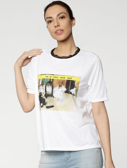White Graphic Print Lace Insert Collar T-Shirt