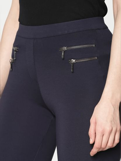 Navy Blue High Rise Zip Detail Ankle Length Skinny Fit Leggings
