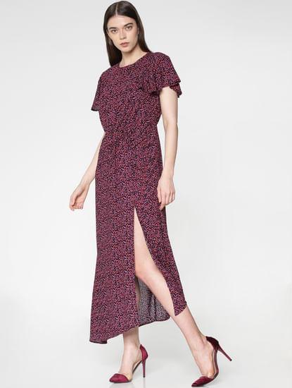 Blue Heart Print Side Slit Asymmetric Midi Dress