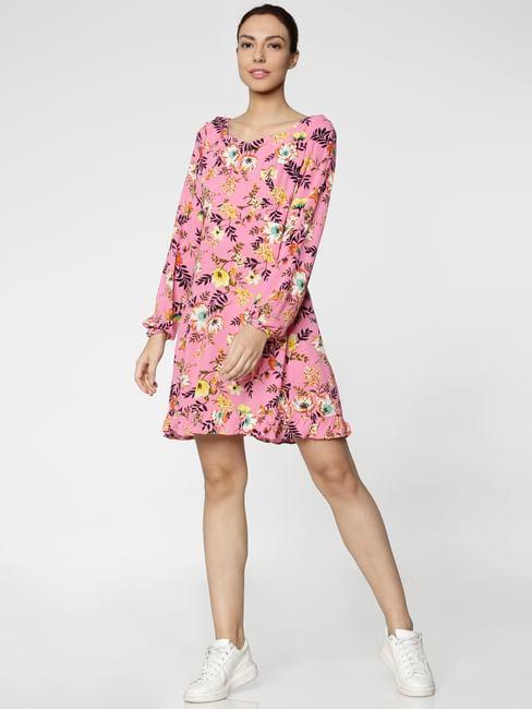Pink Floral Print Ruffled Hem Fit & Flare Dress