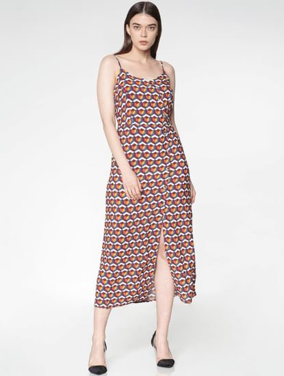 Brown All Over Abstract Print Midi Dress