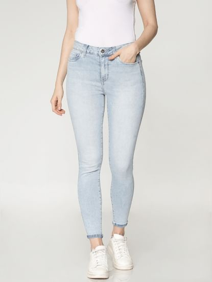 Light Blue High Rise Ankle Length Skinny Fit Jeans