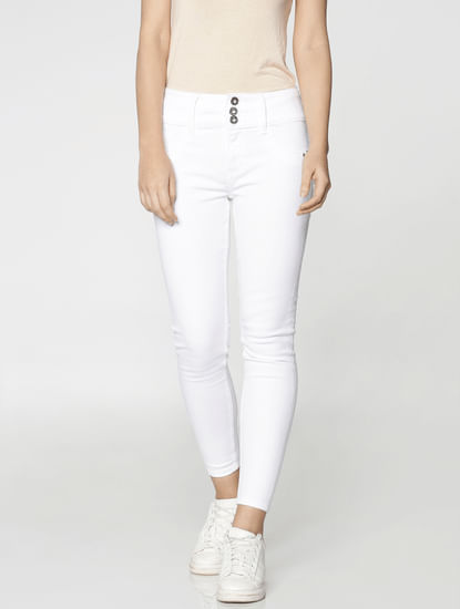 White High Waist Button Detail Ankle Length Skinny Fit Jeans