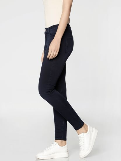 Dark Blue High Rise Ankle Length Skinny Fit Jeans