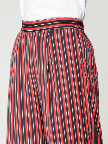 Navy Blue Striped Mid Rise Cropped Culottes