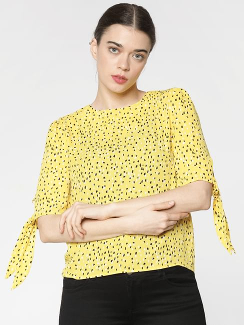 Yellow Printed Tie Up Sleeve And Back Zip Detail Top