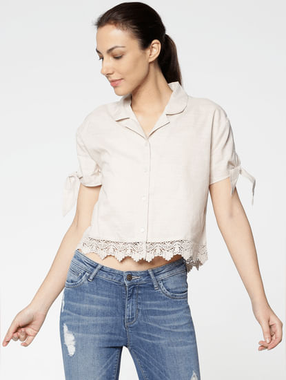 Beige Cut Work Hem Tie Up Sleeves Cropped Shirt