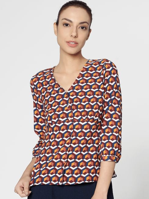 Brown Abstract Print Top