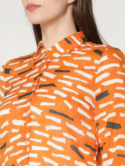 Orange Printed Shirt