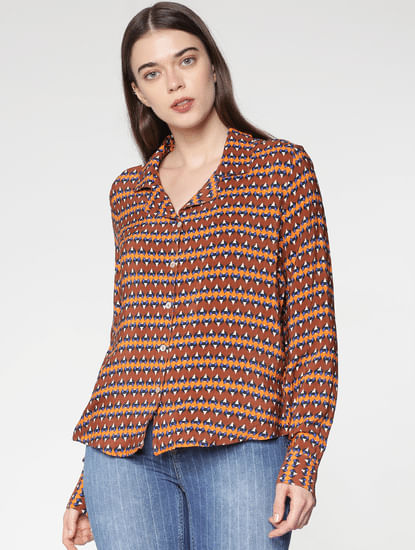 Brown All Over Abstract Print Shirt
