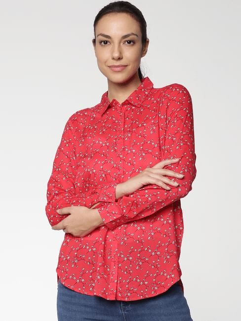 Red All Over Floral Print Shirt