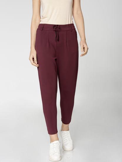 Burgundy Mid Rise Drawstring Ankle Length Slim Fit Pants
