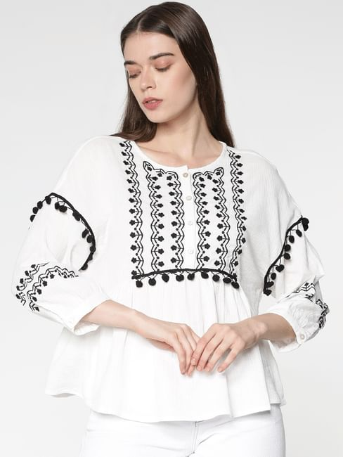 White Embroidered Flared Top