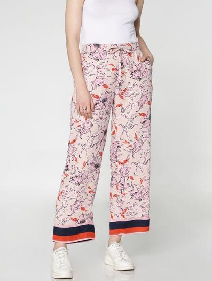 Beige Mid Rise Pink Floral Print Contrasting Coloured Hem Drawstring Pants