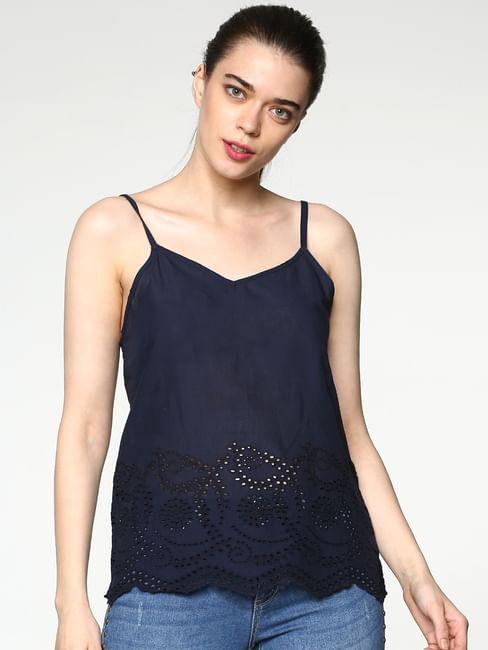 Blue Embroidered Hem Slim Fit Singlet Top