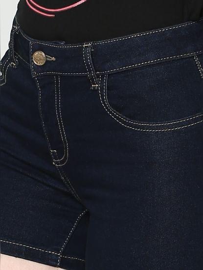 Blue Low Rise Raw Washed Slim Fit Denim Shorts