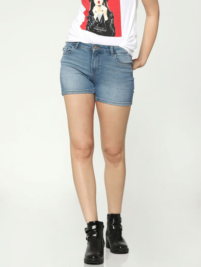 Light Blue Low Rise Raw Slim Fit Denim Shorts