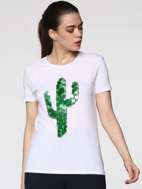 White Cactus Graphic Print T-Shirt