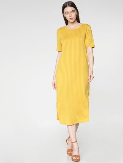 Yellow Side Slit Midi Jersey Dress