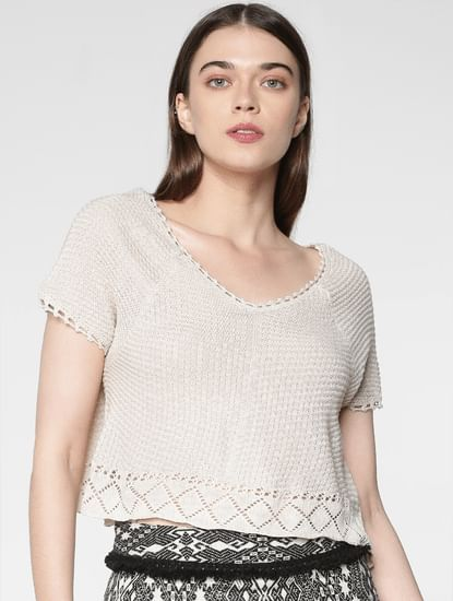 Beige Crochet Slim Fit Knit Cropped Pullover