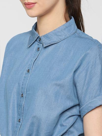 Blue Front Knot Detail Denim Shirt