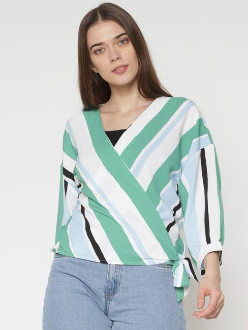 White Striped Wrap Top