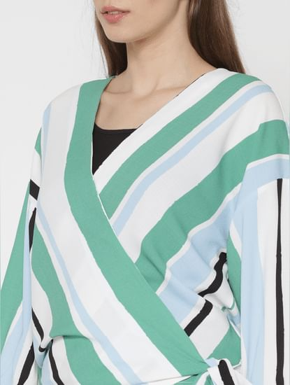 White Striped Wrap Top