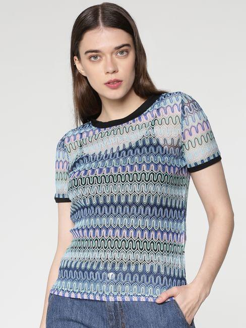 Blue Multicoloured Jacquard Lace Knit Top